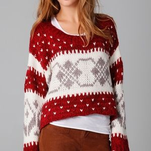 Free People Cropped Fair Isle Pullover Sweater S